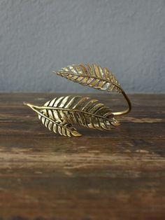 Brass feather fern bracelet from redinfred