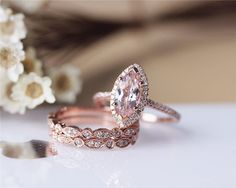 Hey, I found this really awesome Etsy listing at https://www.etsy.com/listing/221431115/unique-marquise-morganite-ring-set-solid