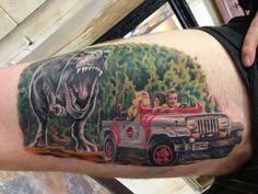 Jurassic Park piece by Aaron Cooper at Good Omen Tattoo in Santa Cruz.  http://benlol.tumblr.com