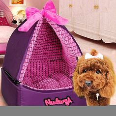 Romantic Tent Style Pet Dog House with Bowknot Ger Dog Kennel Washable Puppy Cat Warm House Bed Mat Soft Small * Be sure to check out this awesome product.