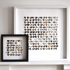 Tiny punched hearts in a shadow frame box. Could make from magazine paper as well. Beautiful art!