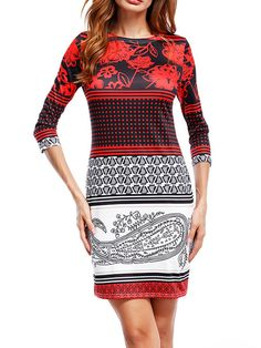 6f11e1870d56 Round Neck Tribal Printed Bodycon Dress  floral  printed Elegant Dresses  For Women