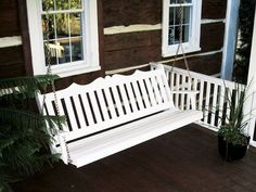 Amish Pine Wood Royal English Porch Swing A beautiful way to enjoy porch, patio or pool, this pine swing is strong, durable, attractive and affordable. Fine wood furniture handcrafted in Amish country. #porchswing #swings