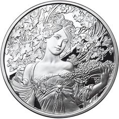 1 oz Proof Mucha Collection Champagne Silver Round (New w/ CoA) Coin Design, Hobo Nickel, Coin Art, Coins For Sale, Alphonse Mucha, Art Series, Dark Fantasy Art, Silver Rounds, Coin Collecting