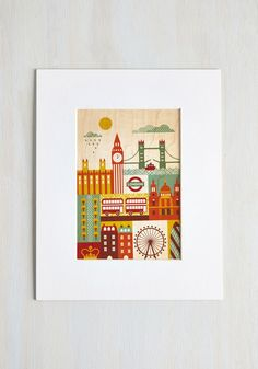 I Wood Leave Tomorrow Print in London - Multi, Exclusives, Eco-Friendly, Travel, Good, 60s, Mid-Century, Pastel