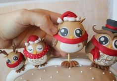 Christmas Owls fondant / polymer clay  picture tutorial