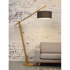 GOOD&MOJO Mont Blanc: Bamboo floor lamp with a dark grey eco-linen shade (available in 8 colorshades). Dimensions When you buy this lamp, we donate to the WakaWaka Foundation. Diy Floor Lamp, Wooden Floor Lamps, Swing Arm Floor Lamp, Floor Lamp Base, Unique Floor Lamps, Wood Lamps, Arch Lamp, Bois Diy, Torchiere Floor Lamp