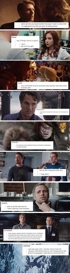 If the Avengers were on Tumblr... The intimate thoughts of Steve Rogers, Natasha Romanov, Tony Stark, Bruce Banner, Bucky Barnes and Agent Coulson.: