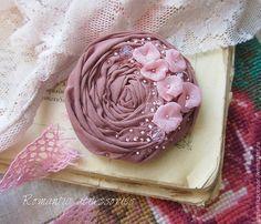 """Купить брошь """"винтажная роза"""" - розовый, роза, брошь из ткани, брошь-цветок, брошь роза"""