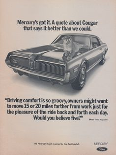 1968 Ford Mercury Cougar Muscle Car Ad Vintage by AdVintageCom