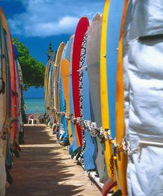 Row of Colorful Surfboards, Waikiki Beach, Oahu, Hawaii. #surf #oahu #hawaii