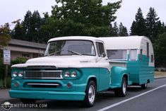 1960 Dodge Truck with vintage Tin-Can in tow.....be still my heart