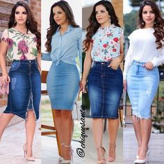 Shop sexy club dresses, jeans, shoes, bodysuits, skirts and more. Stylish Summer Outfits, Classy Work Outfits, Chic Outfits, Fashion Outfits, Skirt Outfits Modest, Denim Skirt Outfits, Looks Total Jeans, Modest Fashion, Look Fashion