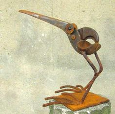 scrap metal sculpture by Chris Kircher I Skulpturen aus Schrott von Chris Kircher  bird, garden, art, steel sculpture