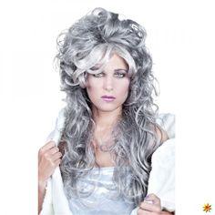 Lockenperücke grau für Zombie-Kostüm zu Halloween & Fasching