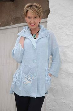 Orla by Tivoli baby blue knitted jacket.8076
