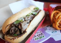 Today's Sandwich: Ultimate Angus Philly (Arby's) Types Of Sandwiches, Wrap Sandwiches, Sub Rolls, Fast Food Reviews, Angus Beef, Sandwich Recipes, Cat Food, Copycat Recipes, Cheesesteak