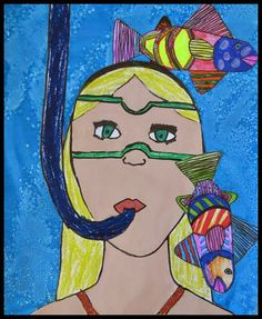 Nothing says late autumn quite like snorkeling right? :) I wanted to do a self-portrait lesson, but. Kids Art Class, Art Lessons For Kids, Art Lessons Elementary, Art For Kids, Summer Art Projects, School Art Projects, Class Projects, Portraits For Kids, Jr Art