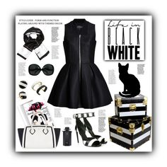 """""""If I had a black dress..."""" by pomy22 ❤ liked on Polyvore featuring Givenchy, Lavinia Cadar, Vince Camuto, Alexander McQueen, Furla, Kate Spade, Gucci, black, stripes and dress"""