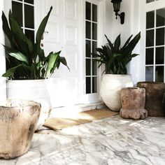 Spruce up the front entrance of your home with some of LuMu's beautiful wide mouth Turkish urns and rustic vintage mortars. Both sit beautifully on this marble porch. Front Door Entrance, Front Entrances, Entrance Ideas, House Entrance, Door Ideas, Outdoor Plants, Outdoor Gardens, Outdoor Decor, Potted Plants