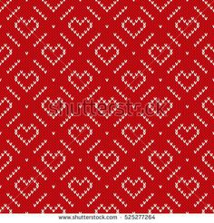 Winter Holiday Knitted Pattern with Hearts and Snowflakes. Valentine's Day Seamless Vector Background