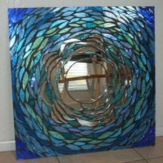 Handmade Glass Mosaic Mirror #vintagemaya #mosaic #handcraft #home decor #mosaic glass