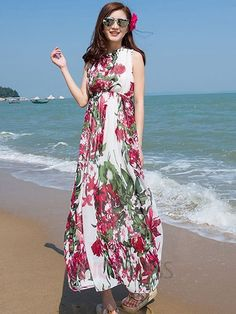 Ericdress Floral Print Sleeveless Beach Maxi Dress Maxi Dresses