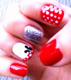 Minnie Mouse nails :)these are awesome but yours were cute too, @Leslie Lippi Riemen Hordinski
