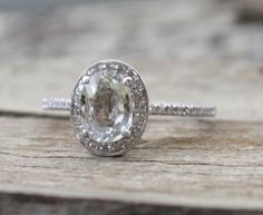Oval White Sapphire Diamond Halo Engagement Ring in by Studio1040