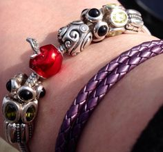 Pop of romantic color in a charm bracelet, with leather bracelet in 2nd base aubergine.