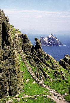 The Monk's Staircase on Skellig Michael.   The stairs lead to a hermitage founded in the 6th century by early Christian monks. The islands are about 15 miles off the southwest tip of Co. Kerry, Ireland in St. Finan's Bay. Skellig Michael is now a Unesco World Heritage Site.    Skellig Islands, Co. Kerry - This is on the list!