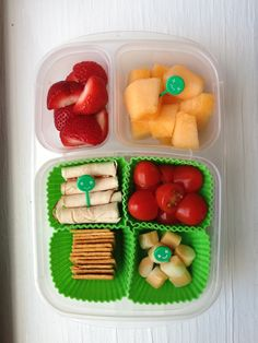 Wheat Thins, twisty string cheese cut in bits, cherry tomatoes, chicken roll ups, cantaloupe, strawberries. #foodforharper #bento #easylunchboxes http://www.facebook.com/FoodForHarper
