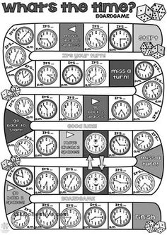 What's the time BOARDGAME - English ESL Worksheets for distance learning and physical classrooms English Games, English Activities, Teaching Time, Teaching Math, English Lessons, Learn English, French Lessons, Spanish Lessons, Learn French
