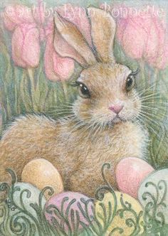 "Art by Lynn Bonnette: ""Spring Pastel Bunny Eggs"""