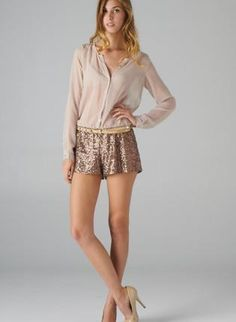 Taupe & Rose Gold Romper with Draped Front & Sequin Bottoms,  Other, sequin romper  sheer, Chic