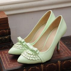 New Brand Mature Black White Light Green Blue Spool High Heels Women Pumps Ladies Shoes A8021-1 alishoppbrasil