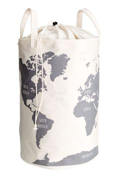 World map storage basket: Large storage basket in cotton twill with a world map print. Two handles and a plastic coating on the inside. Top section in thinner fabric with a drawstring closure. Nursery Storage, Kid Toy Storage, H & M Home, Fabric Storage Baskets, Kids Room Organization, Inspiration For Kids, Home Collections, Plastic Coating, Baby Room