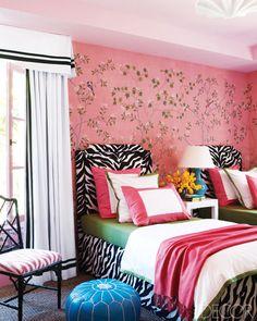 pink wall zebra beds