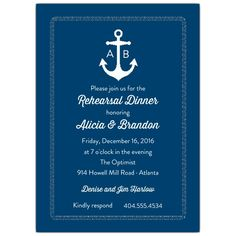 Anchors Away Color Choice Rehearsal Dinner Invites | PaperStyle