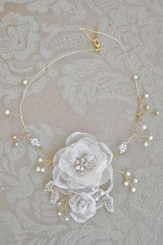 Wedding Jewelry Handmade Bridal Fabric Flower by LifeDefinition, $64.00