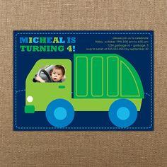 Garbage and Recycle Truck Birthday DIY Printable Invitation via Etsy