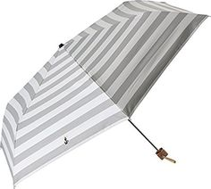 プラスニコ 折りたたみ傘 手開き 日傘/晴雨兼用傘 グレー 遮光 ボーダー 全3色 6本骨 50cm UVカット 99.9%以上 木製ハンドル 21342