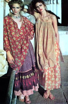70s gauze India dresses Here I pin because of the silk band at the neckline of the beige dress.