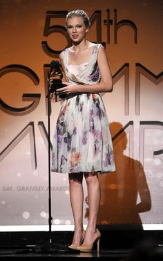 Lovely girl Taylor Swift at the 54th Grammy Awards