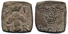 Sweden Johan III SM 144 4 öre klipping 1591 , 3,57 g. Korrosion. 01  Dealer Myntkompaniet & AB Philea  Auction Starting Price: 5000.00 SEK (app. 544 EUR)