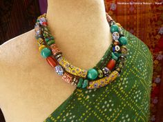 Antique and Vintage Venetian millefiori and African trade bead collector's necklace one of a kind