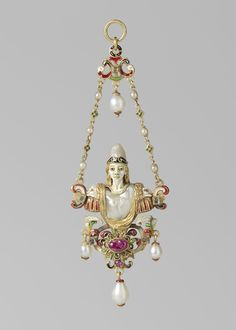 Pendant with bust of Minerva, made in Italy, c.1550-1600 (source).