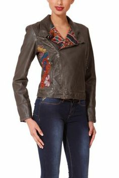Desigual women's Liz jacket. A faux-leather, wrinkled-effect jacket with a zip fastening and asymmetric neckline. Embroidery along the side. Slim fit