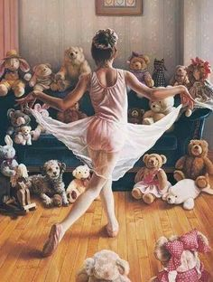 """""""The Audition"""" by Tom Sierak: Ballerina performing for her stuffed animals.and one real one. From original pastel painting by Tom Sierak. This painting is up at my ballet studio! Just Dance, Dance Like No One Is Watching, Shall We Dance, Kind Photo, Nanu Nana, Realistic Oil Painting, Little Ballerina, Ballerina Dancing, Girl Dancing"""