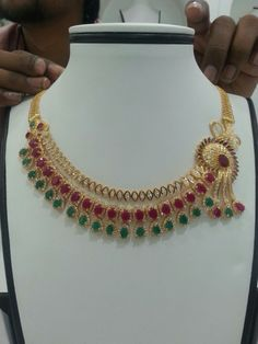 Ruby and emerald Gold Jewellery Design, Gold Jewelry, Jewelery, Designer Jewellery, Gold Bangles, Pearl Jewelry, Gold Necklace, Indian Wedding Jewelry, Indian Jewelry